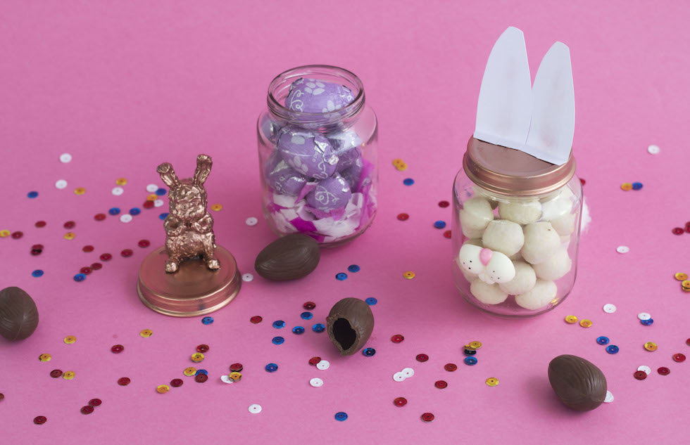 Lembrancinha de Páscoa com mini ovos de chocolate
