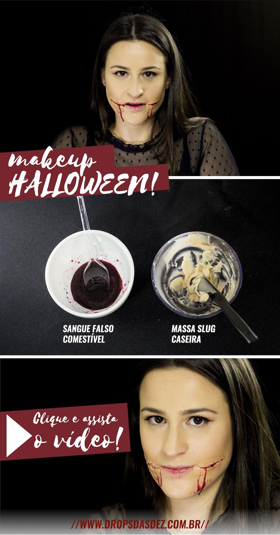 maquiagem Halloween cicatriz e sangue falso