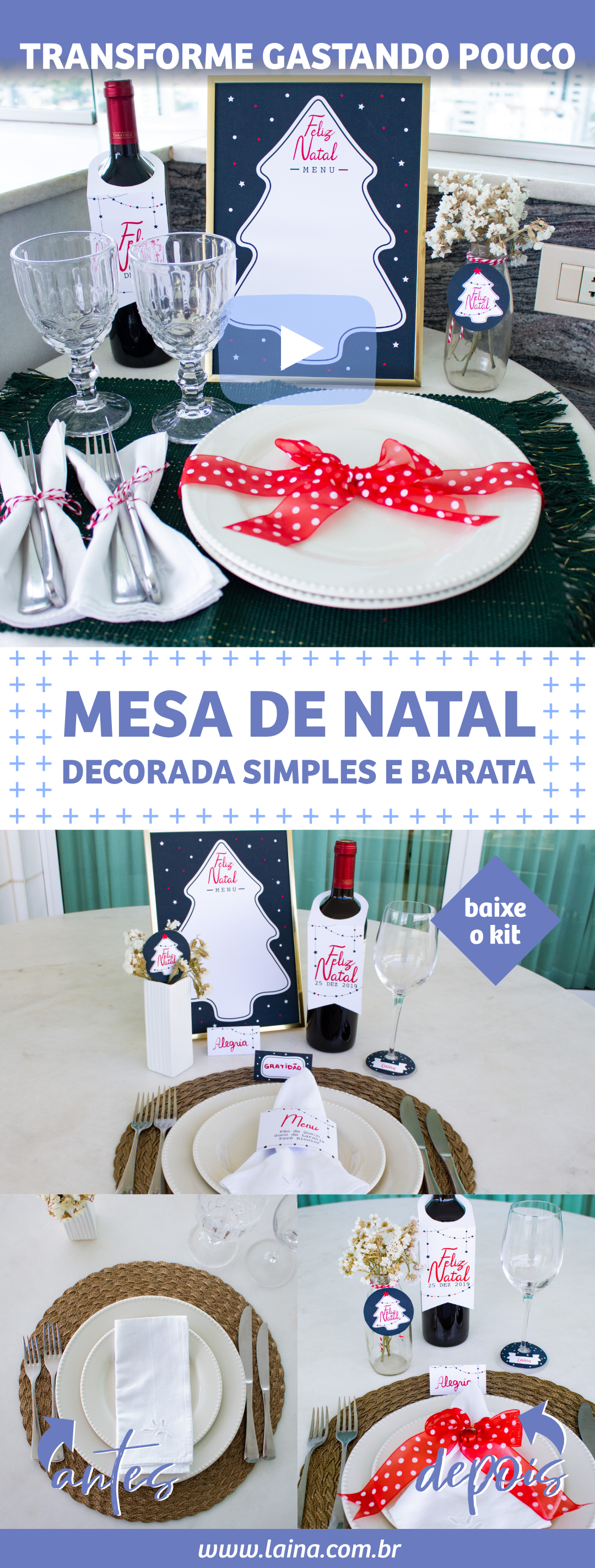 5 ideias de mesa de Natal decorada simples e barata