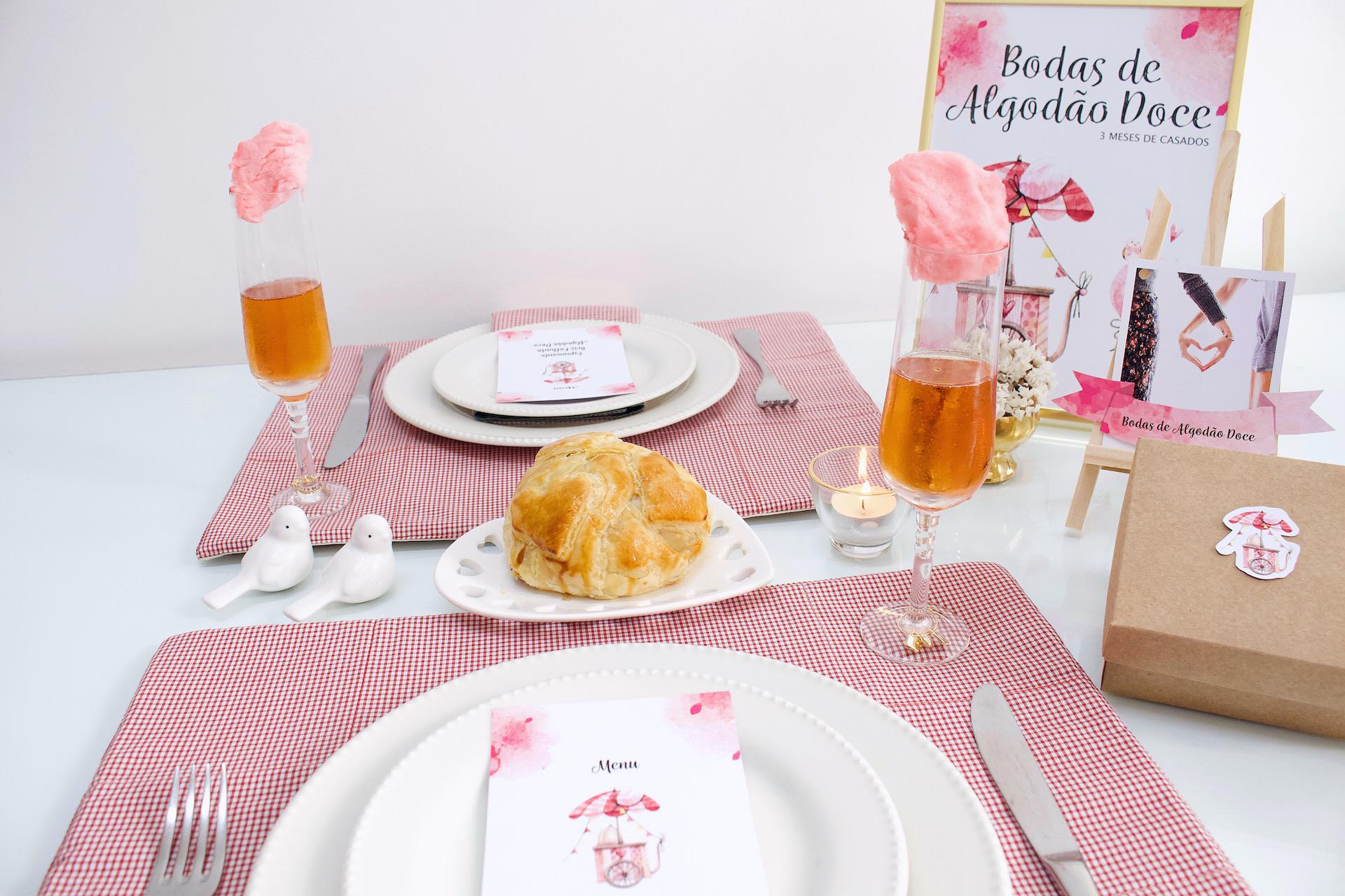 mesa posta bodas de algodão doce