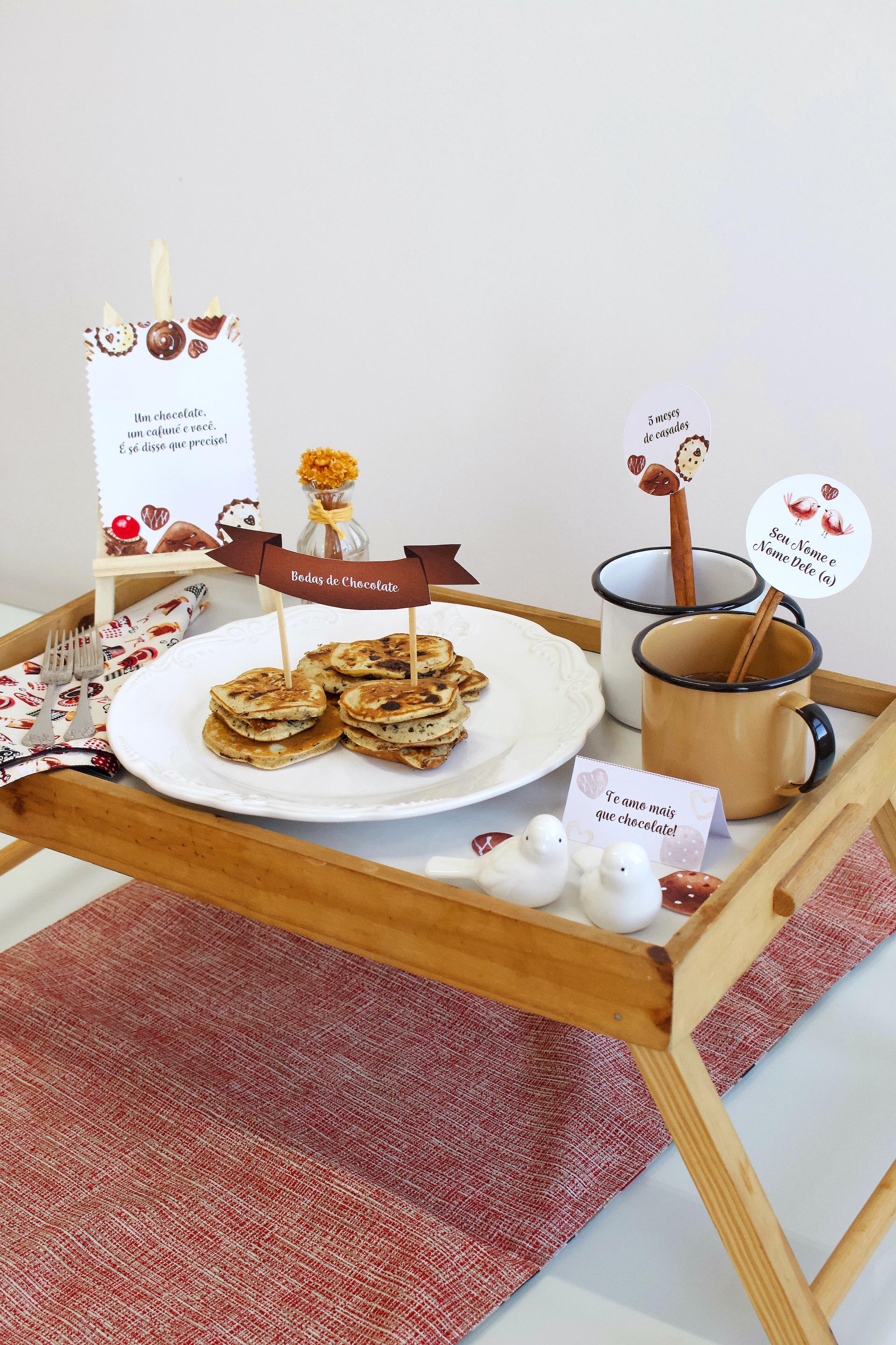 Bodas de Chocolate bandeja de café da manhã romântico