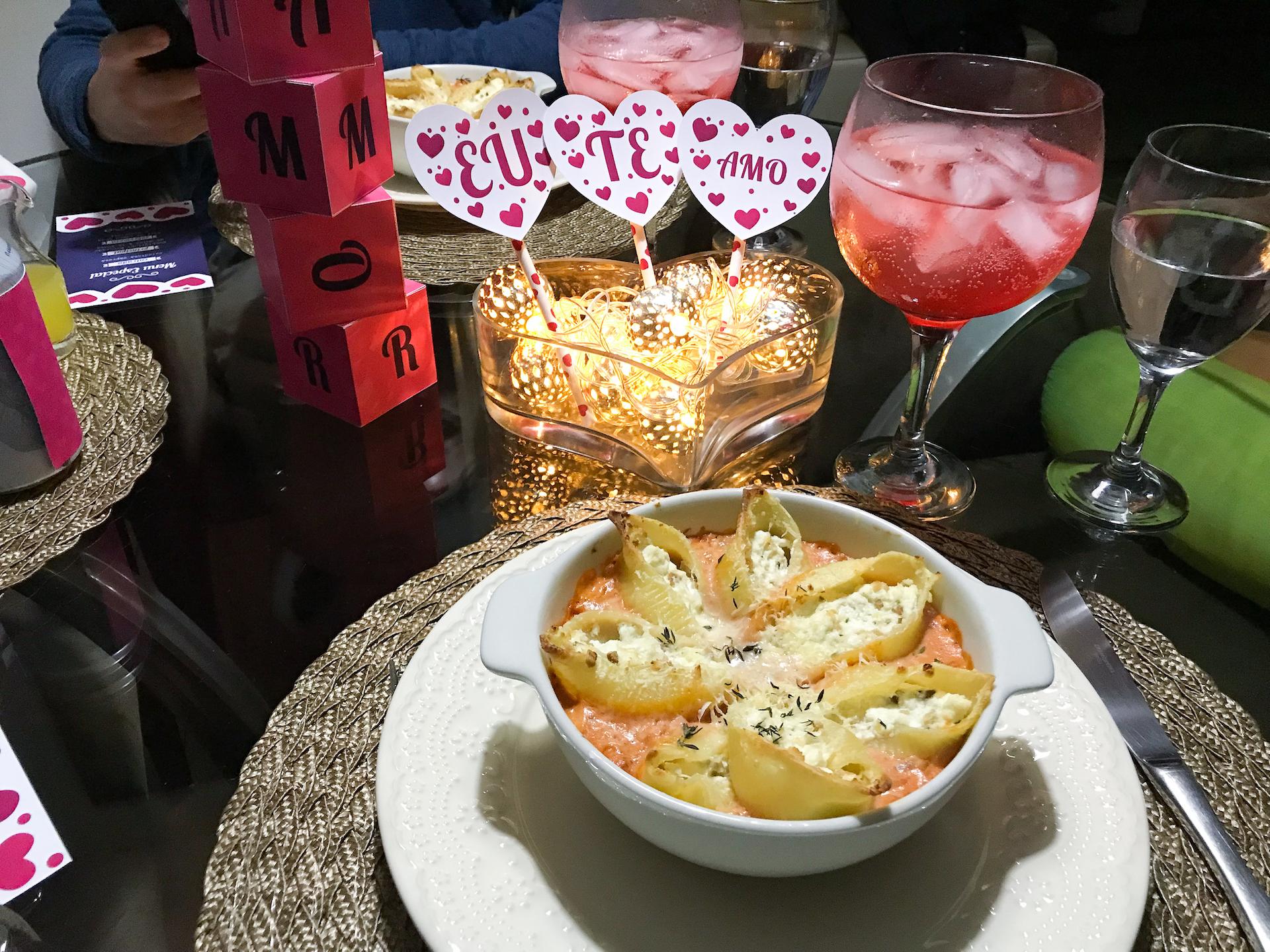 Conchiglioni Recheado com Ricota jantar romântico em casa dia dos namorados simples