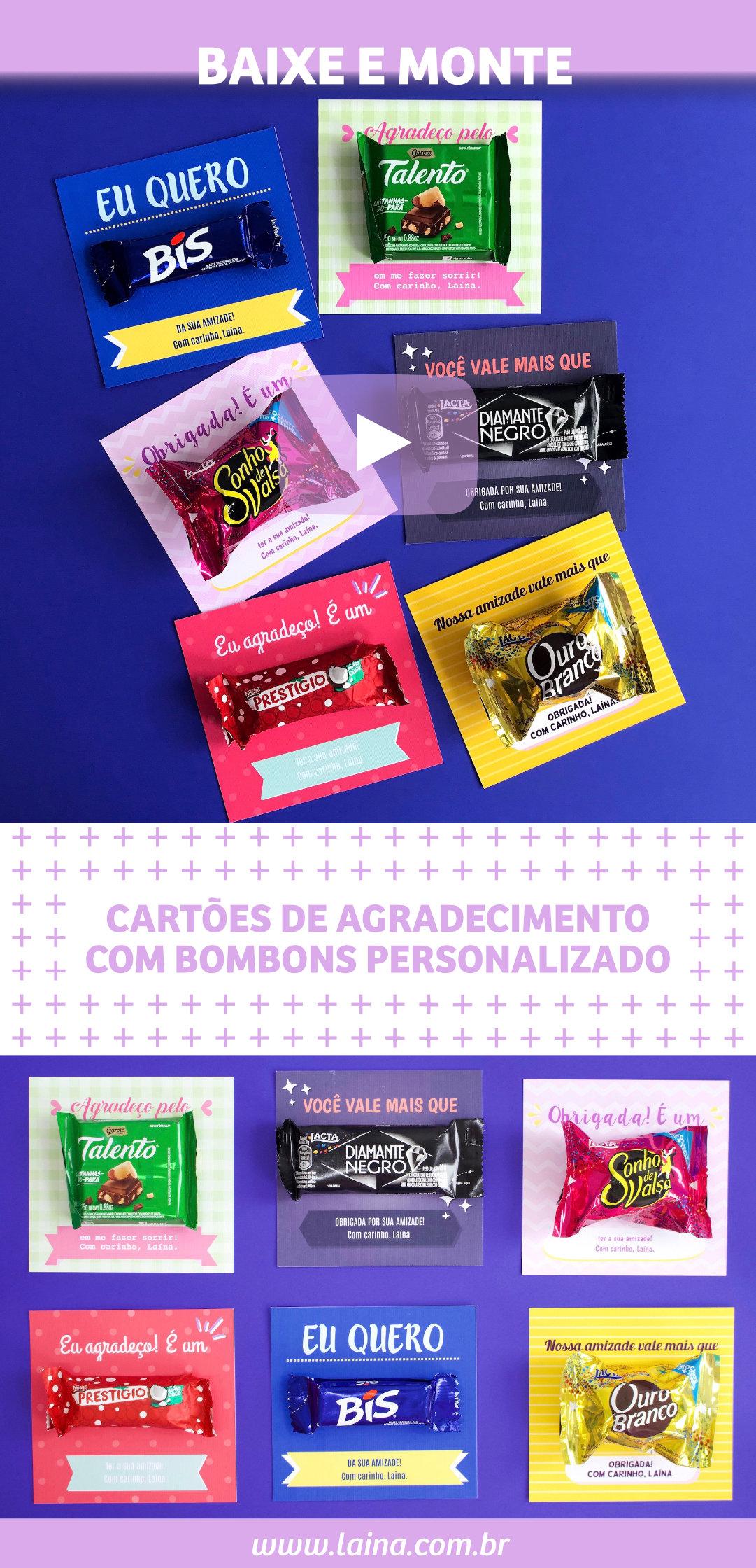 Cartão Bombom: Como fazer um cartão de agradecimento usando bombons?
