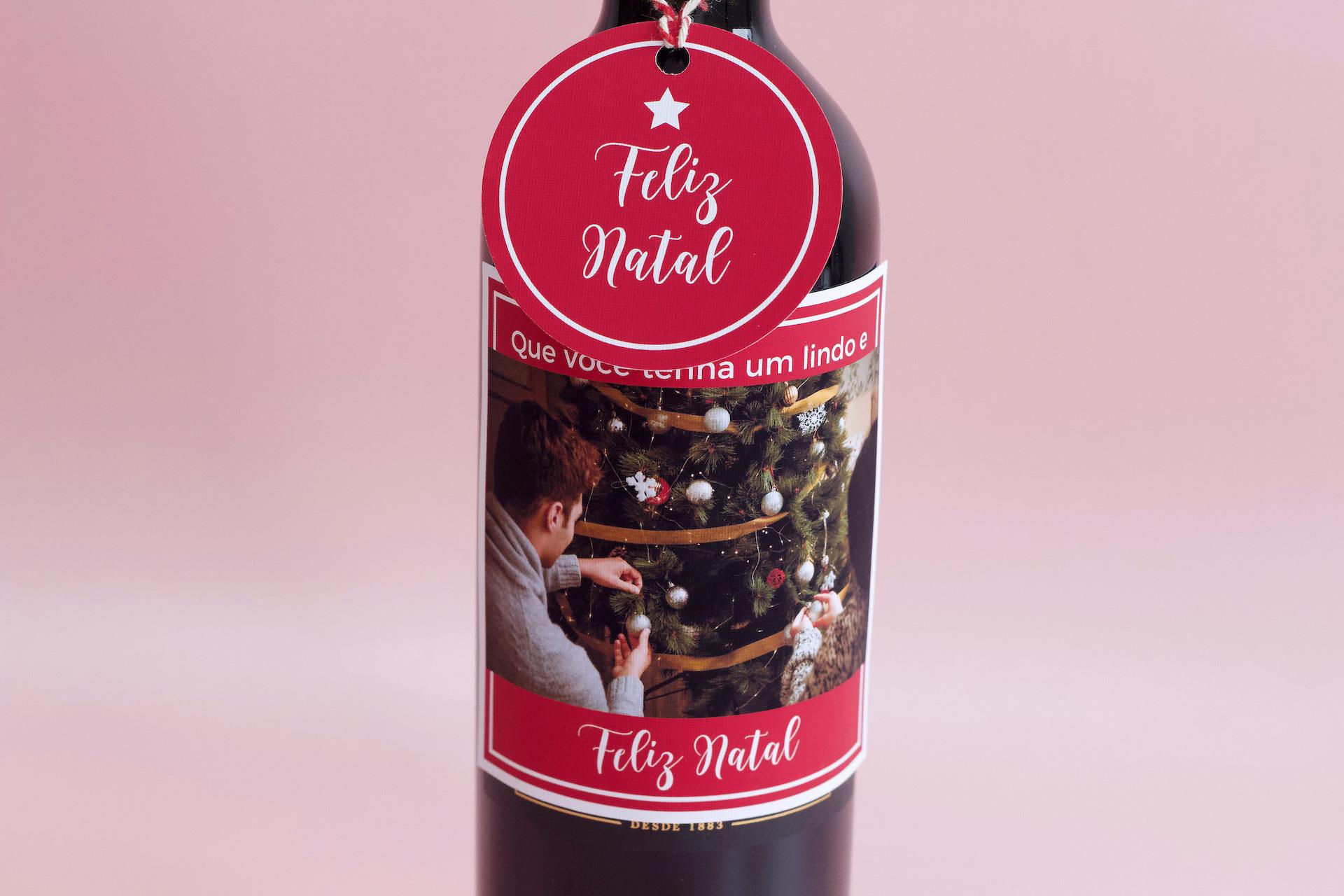 presente de natal vinho personalizado