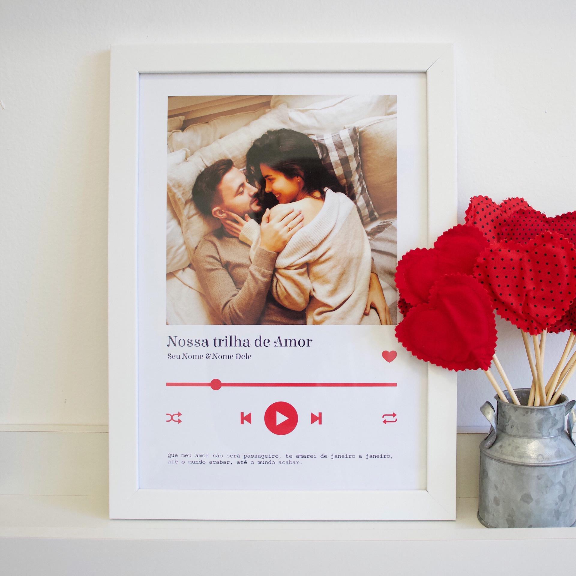quadro/pôster criativo para o namorado - nossa trilha de amor