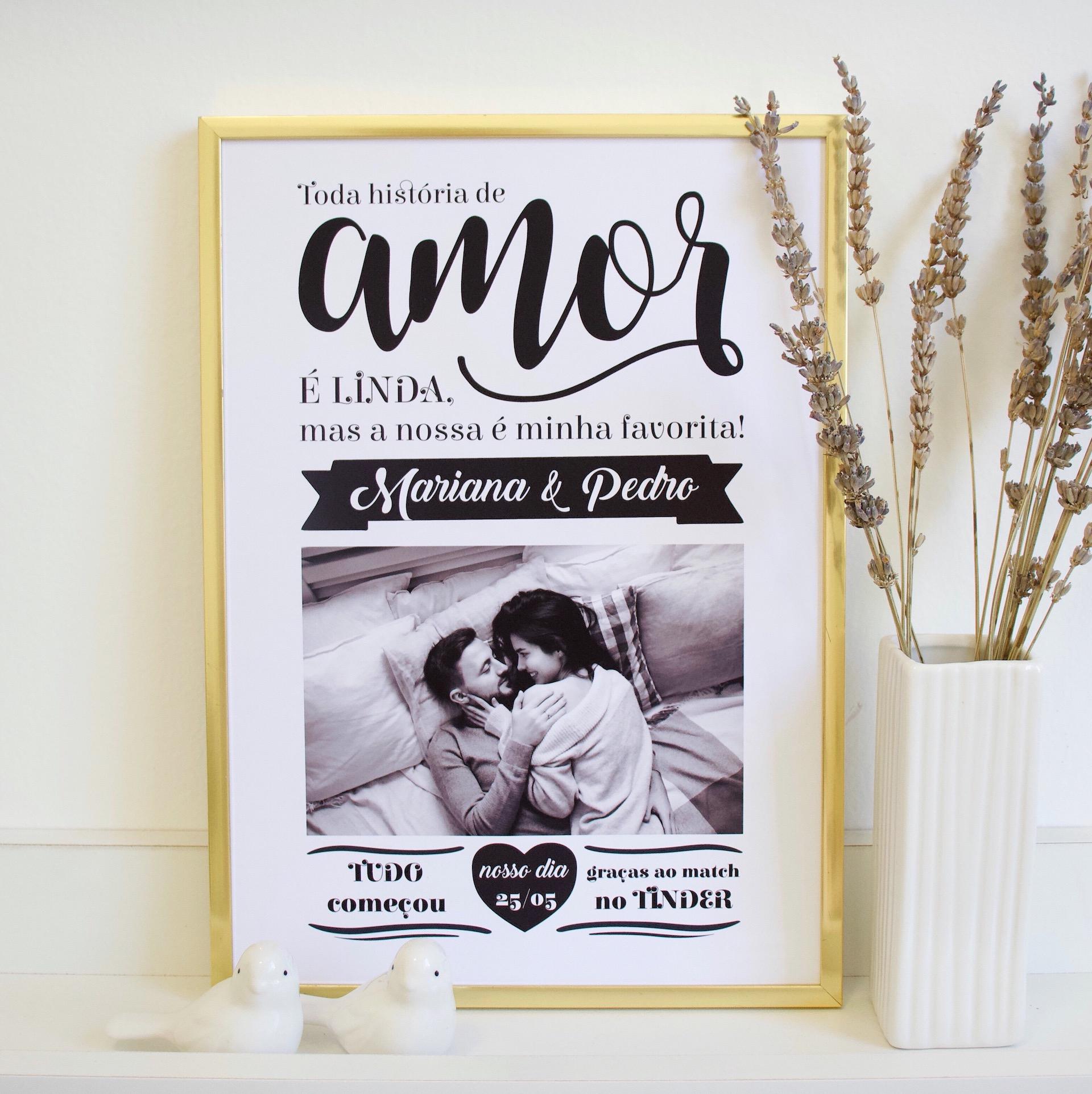 quadro/pôster criativo para o namorado - nossa história