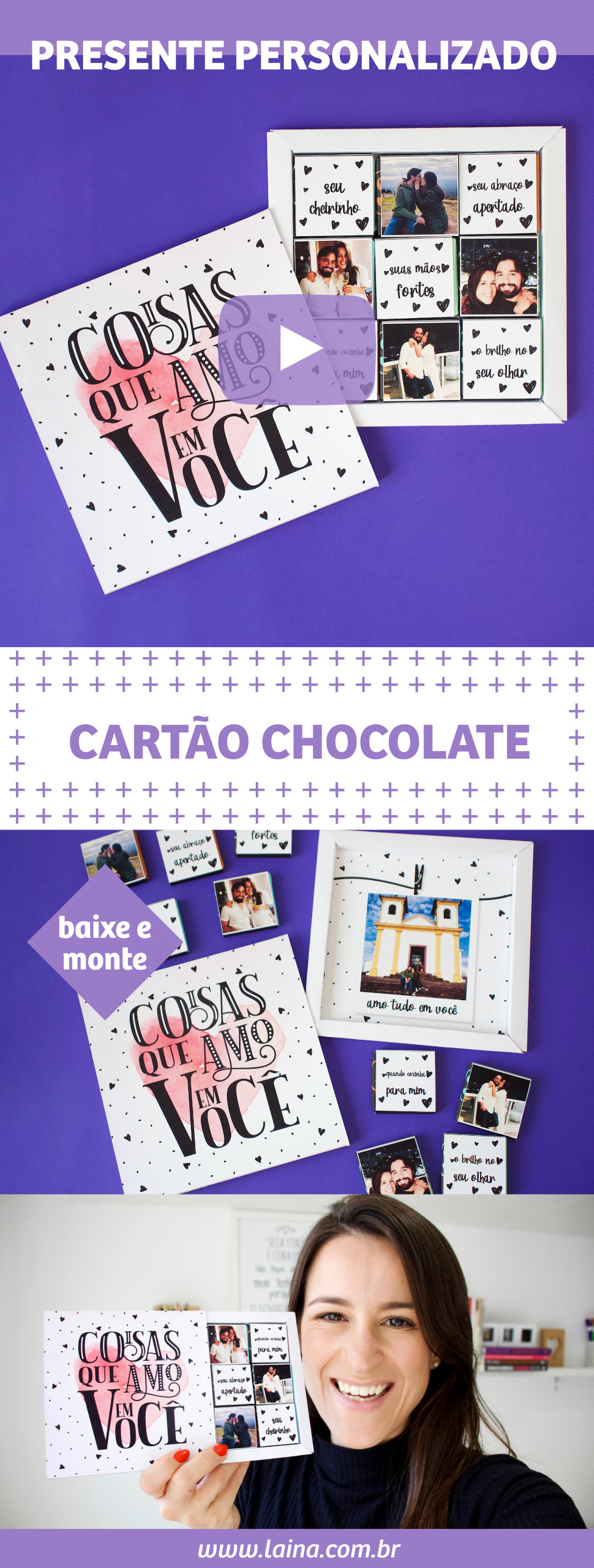 Cartão Criativo para o Namorado com Chocolates - Coisas que Amo em Você